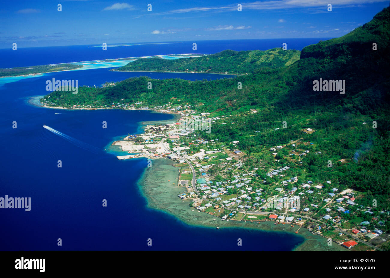 Aerial photo of bora bora with main town of vaitape on for What to buy in bora bora