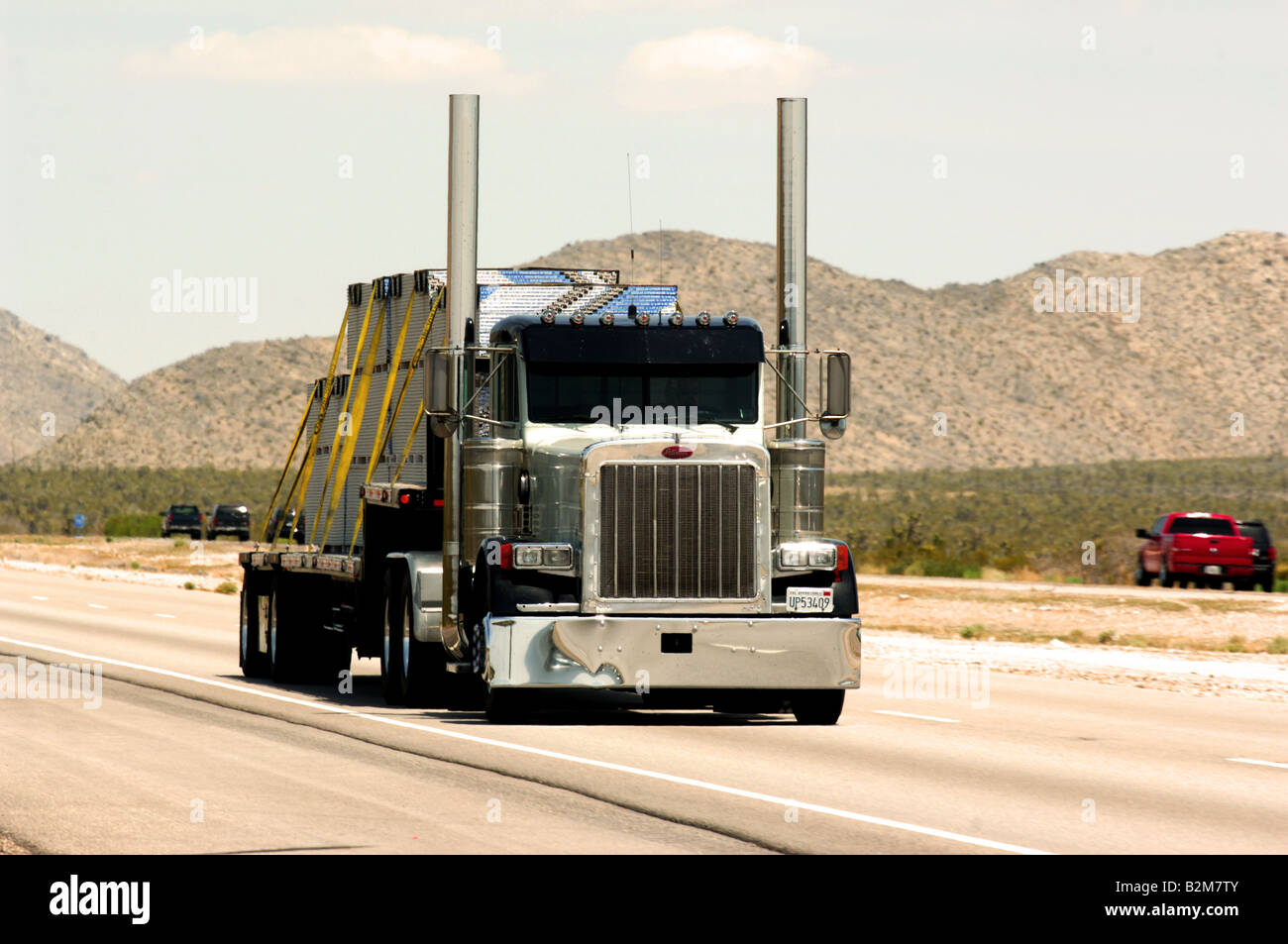 Stock photo truck on us highway between las vegas and los angeles