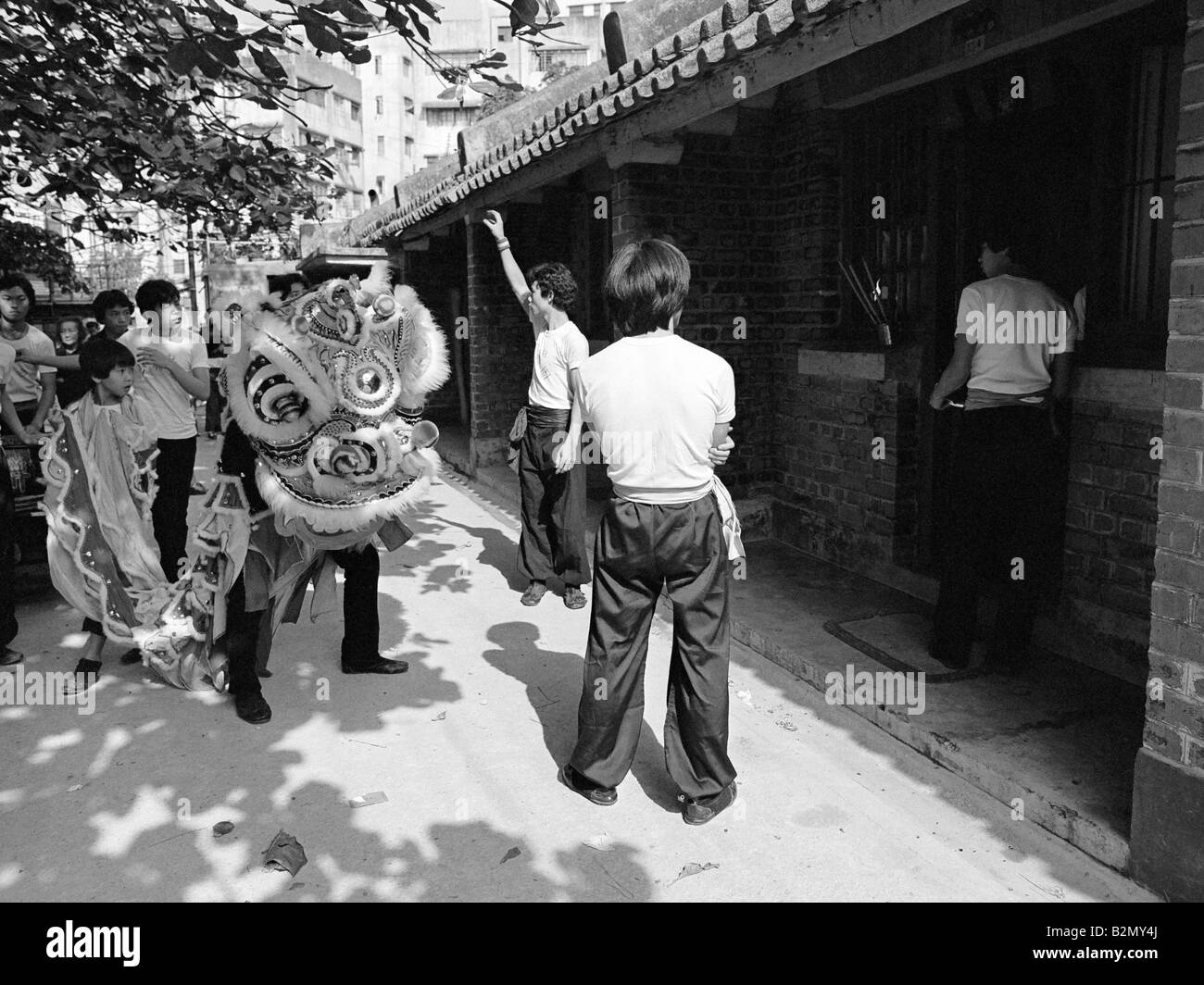 lion dance first footing at chinese new year stanley village hong kong 1979 - Chinese New Year 1979