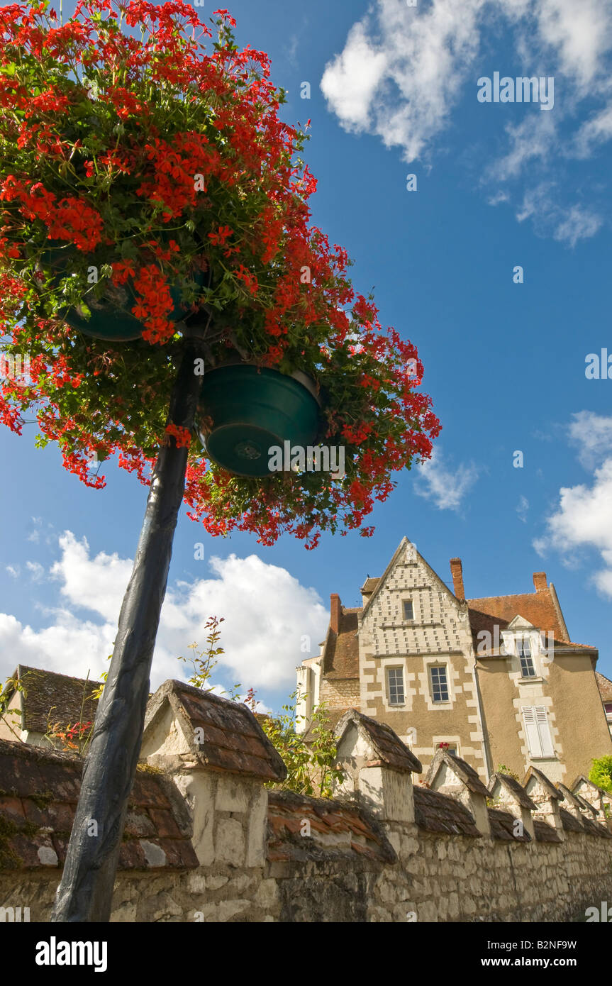 Geranium Display On Street Lamp Posts, La Roche Posay, Vienne, France