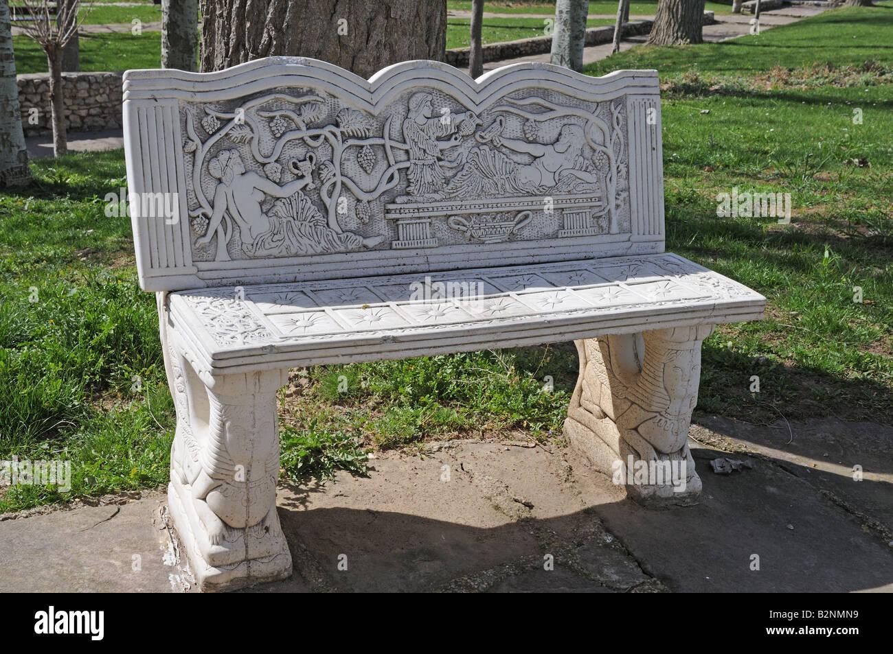 Good Ornate Decorative Cement Concrete Cast Stone Public Seat Bench Outside The  Visigothic Basilica Banos De Cerrato