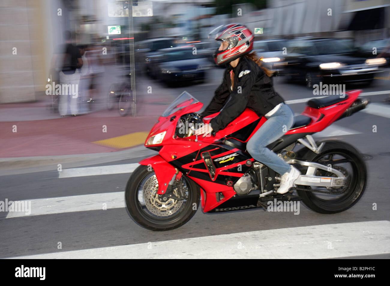 Miami beach florida collins avenue woman motorcycle bike for Honda florida ave