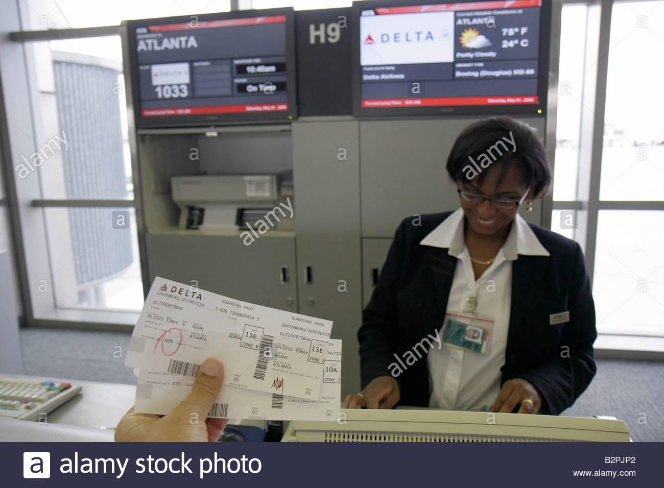 Miami Florida Miami International Airport Mia Black Woman Ticket ...