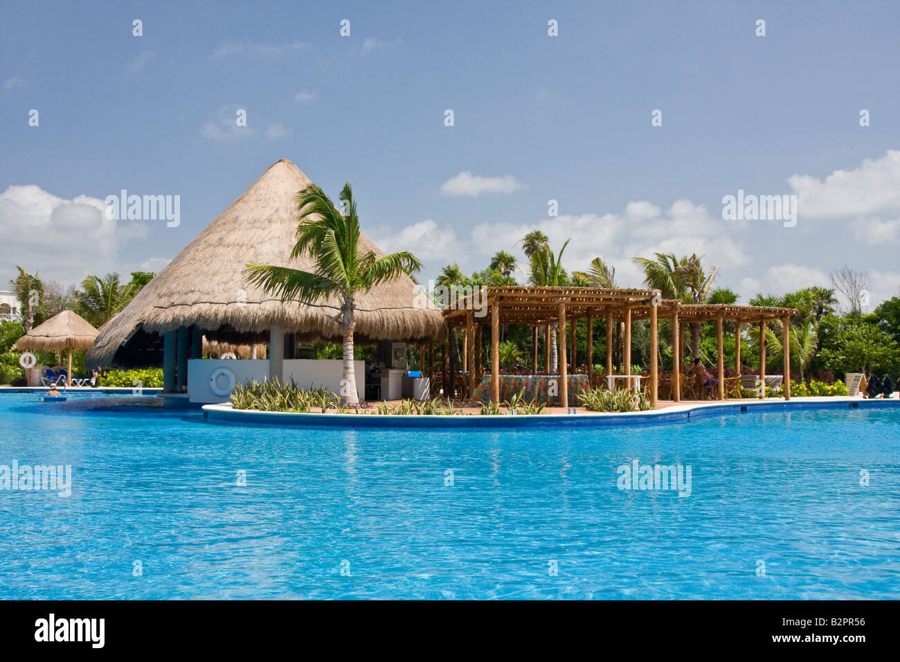 Pool area of the luxury resort hotel on mayan riviera for Luxury pool area
