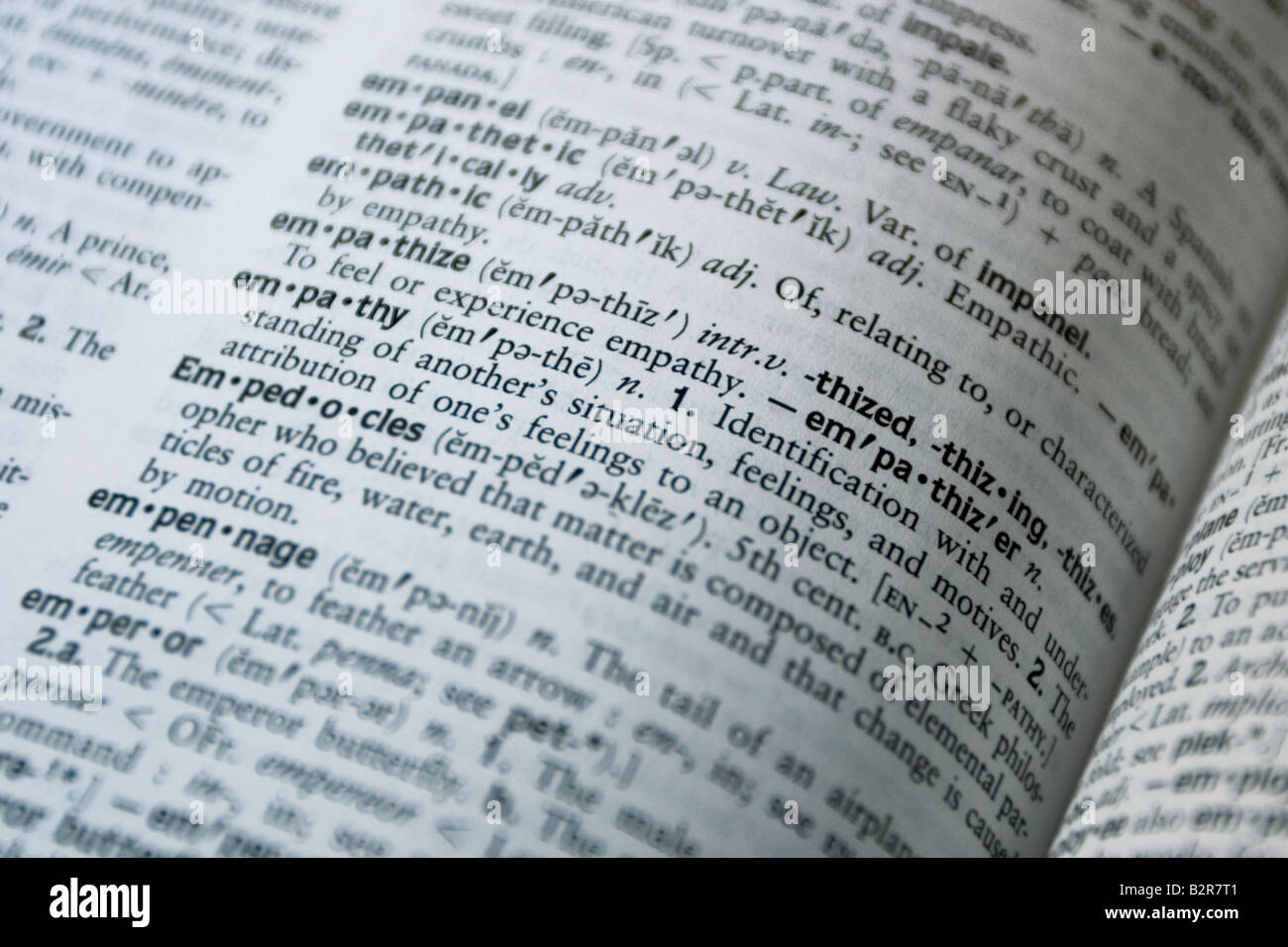 Close up of a dictionary. Definition of empathy Stock ...
