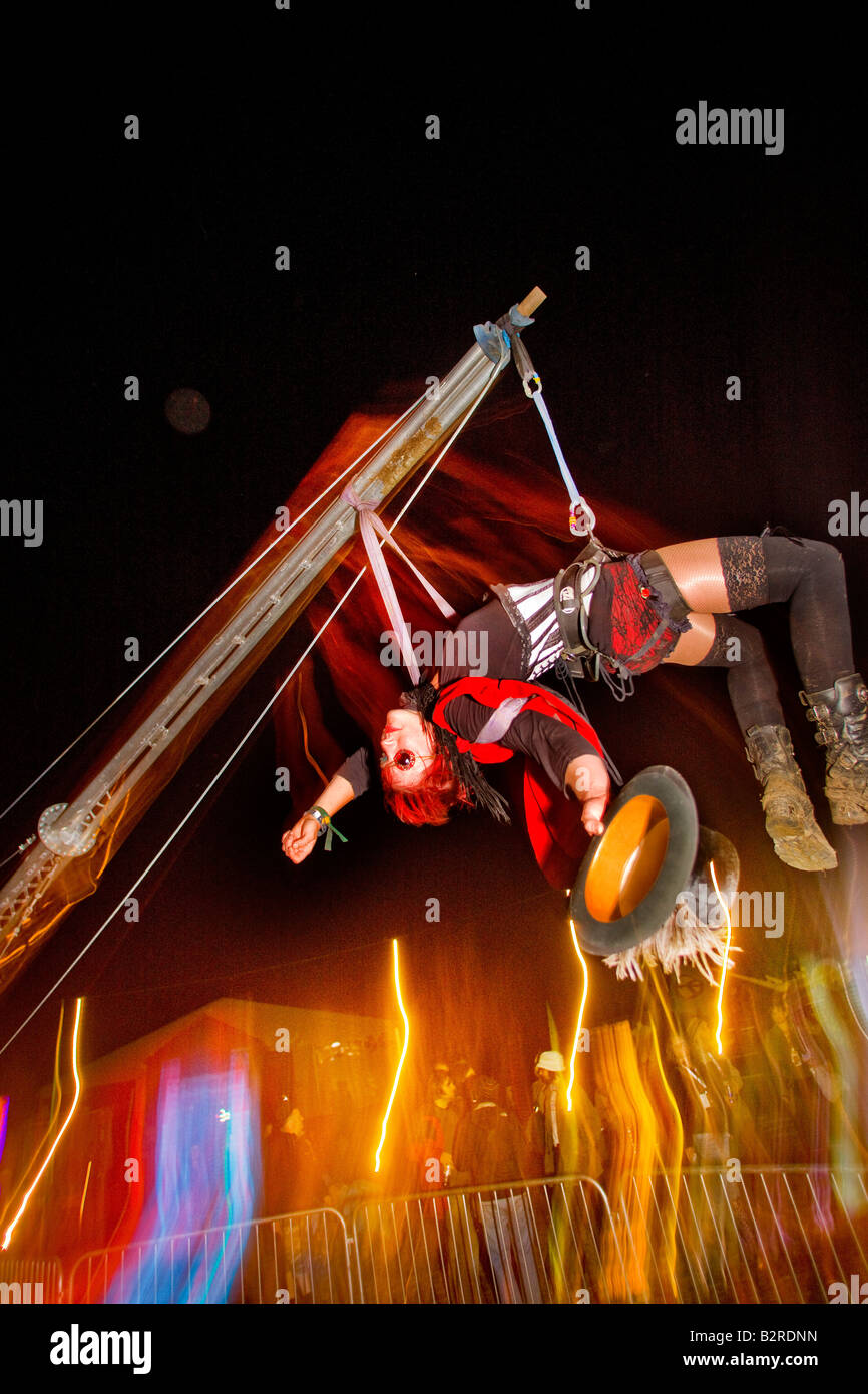 Trapeze act in the circus tent in Shangri La Glastonbury Music Festival Somerset United Kingdom & Trapeze act in the circus tent in Shangri La Glastonbury Music ...