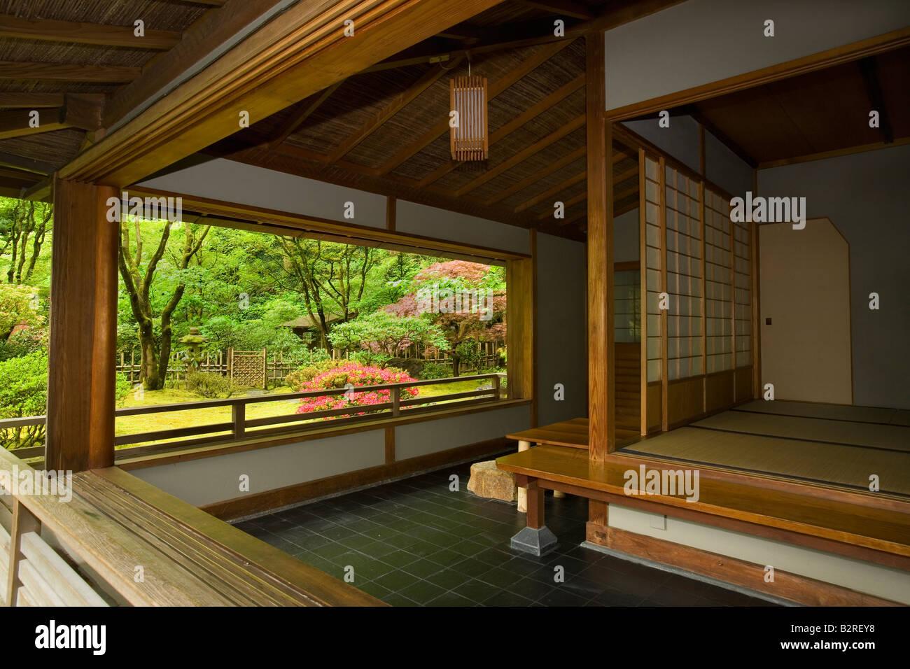 Japanese tea house interior - Garden Japanese Garden Portland Or Oregon U S United States