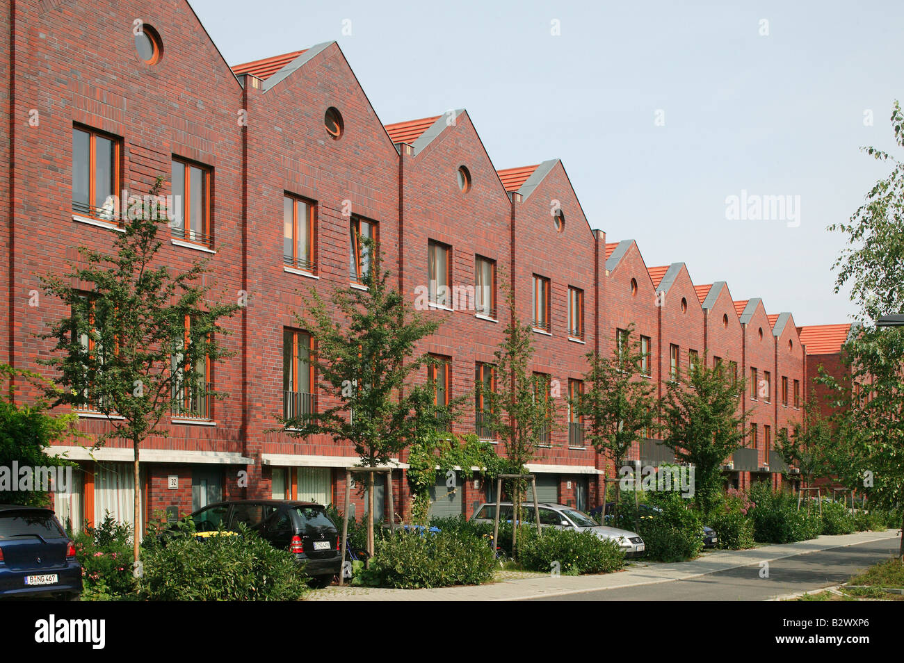 terraced houses in the rummelsburg district, berlin, germany stock