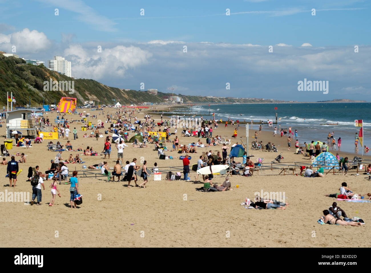 Crowded Seaside Beach Resort The Seafront At Bournemouth Southern England Uk
