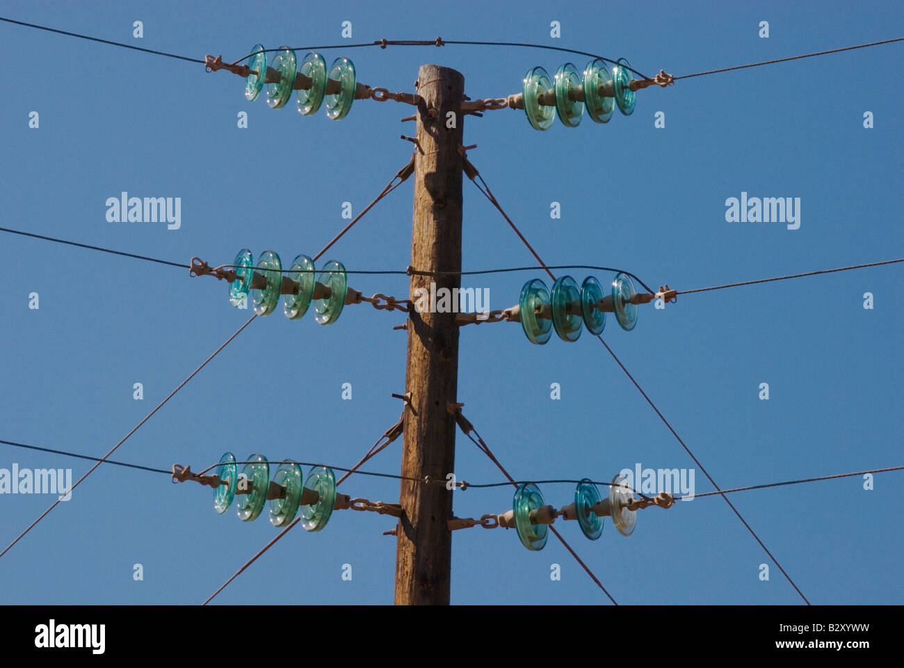 Glass insulators on electrical power lines in baja for Glass power line insulators