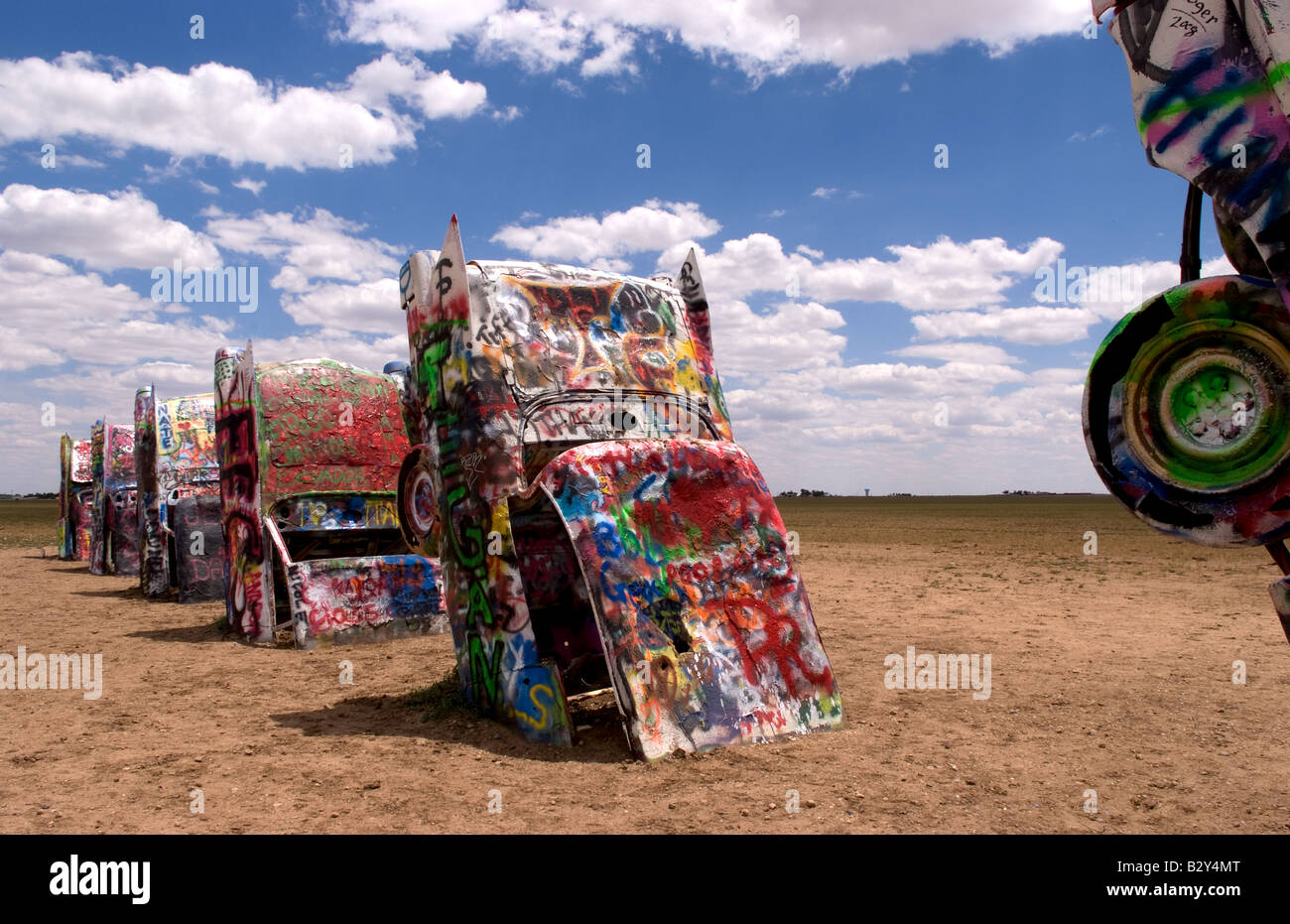 Stock photo the cadillac ranch with buried cars in ground in amarillo texas usa