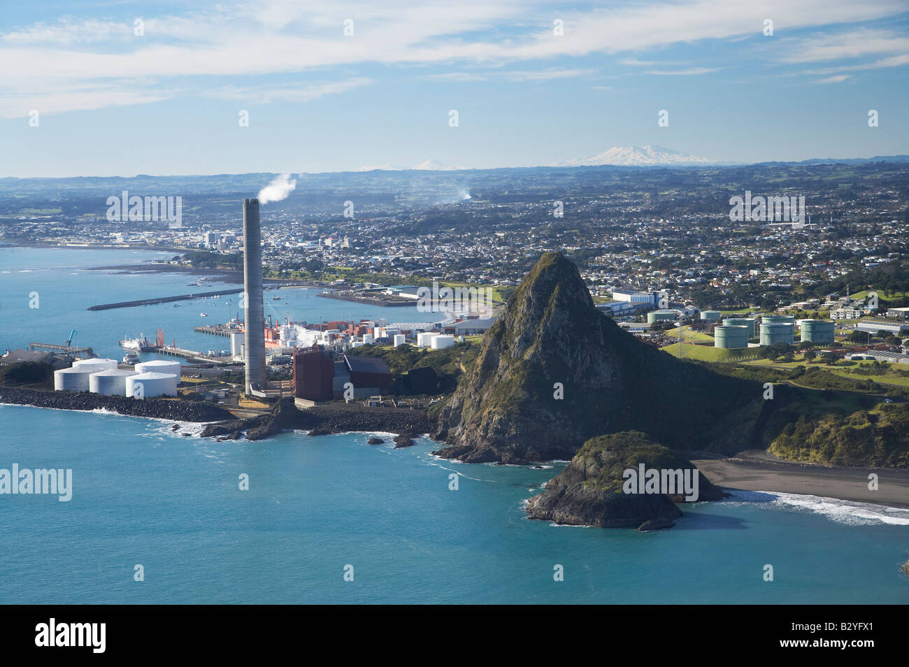 New Plymouth Power Station And Paritutu Taranaki With