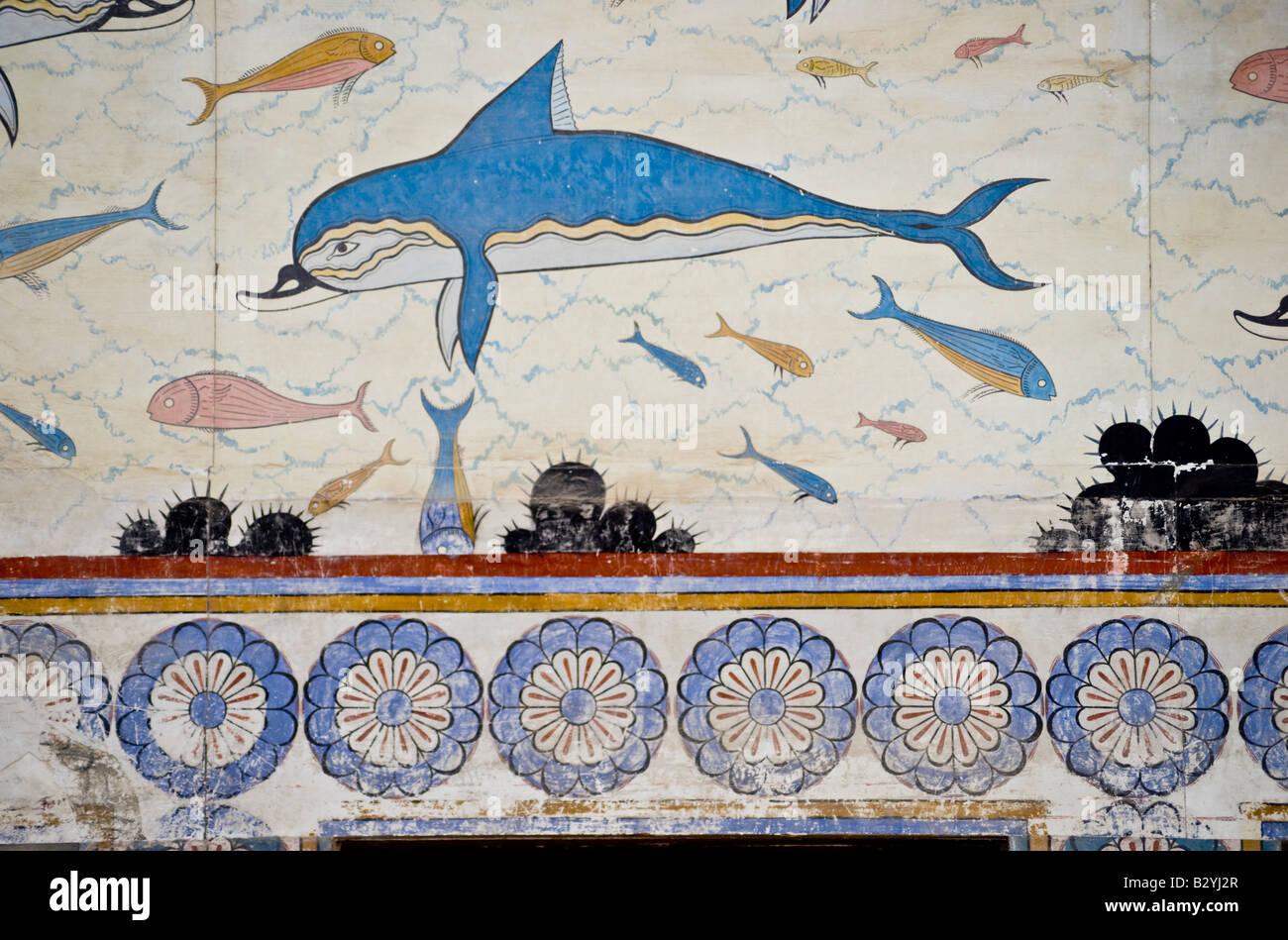 Minoan frescoes knossos images for Dolphin mural knossos