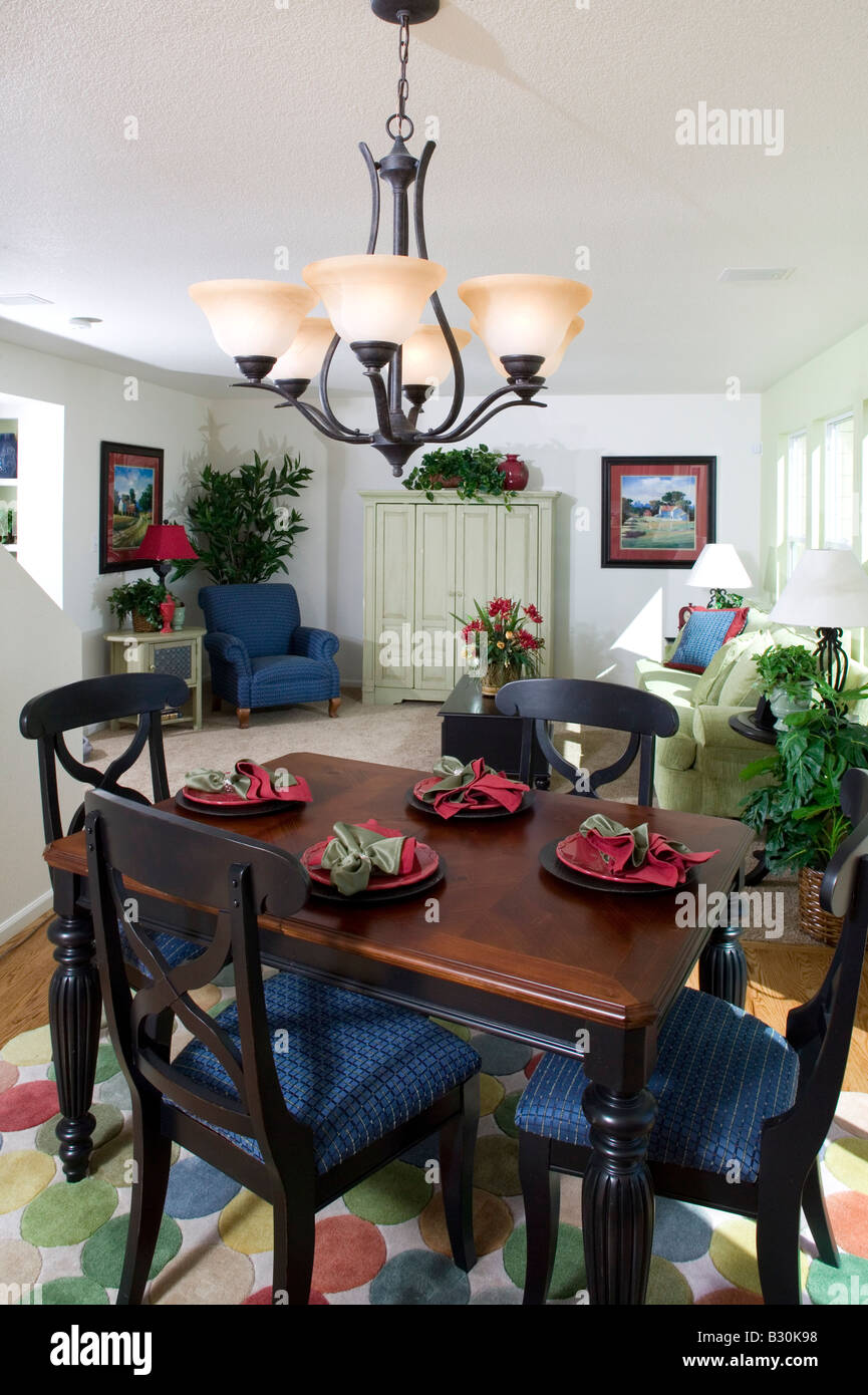 Middle Class Single Family Home Interior Dining Room Table And Chairs  Nobody, Denver, Colorado, USA