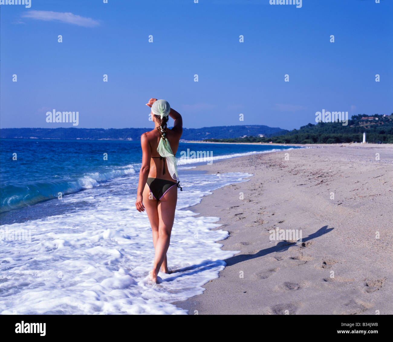 Woman walking on a beach royalty - Girl Walking On Beach