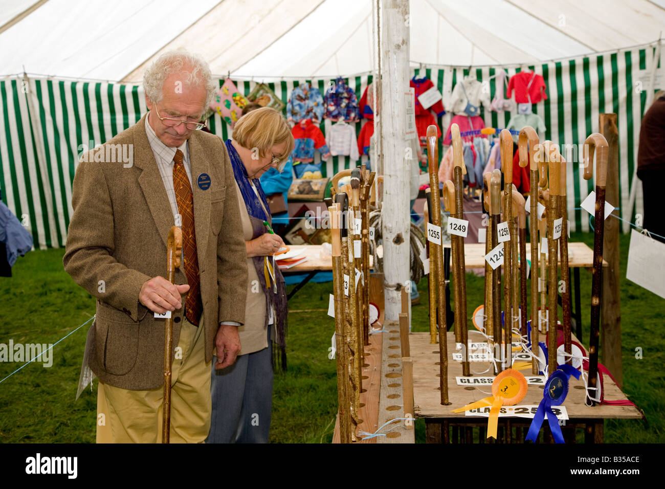 Judging the Walking Stick Entry in the Craft Tent Rosedale Agricultural Show North Yorkshire & Judging the Walking Stick Entry in the Craft Tent Rosedale Stock ...