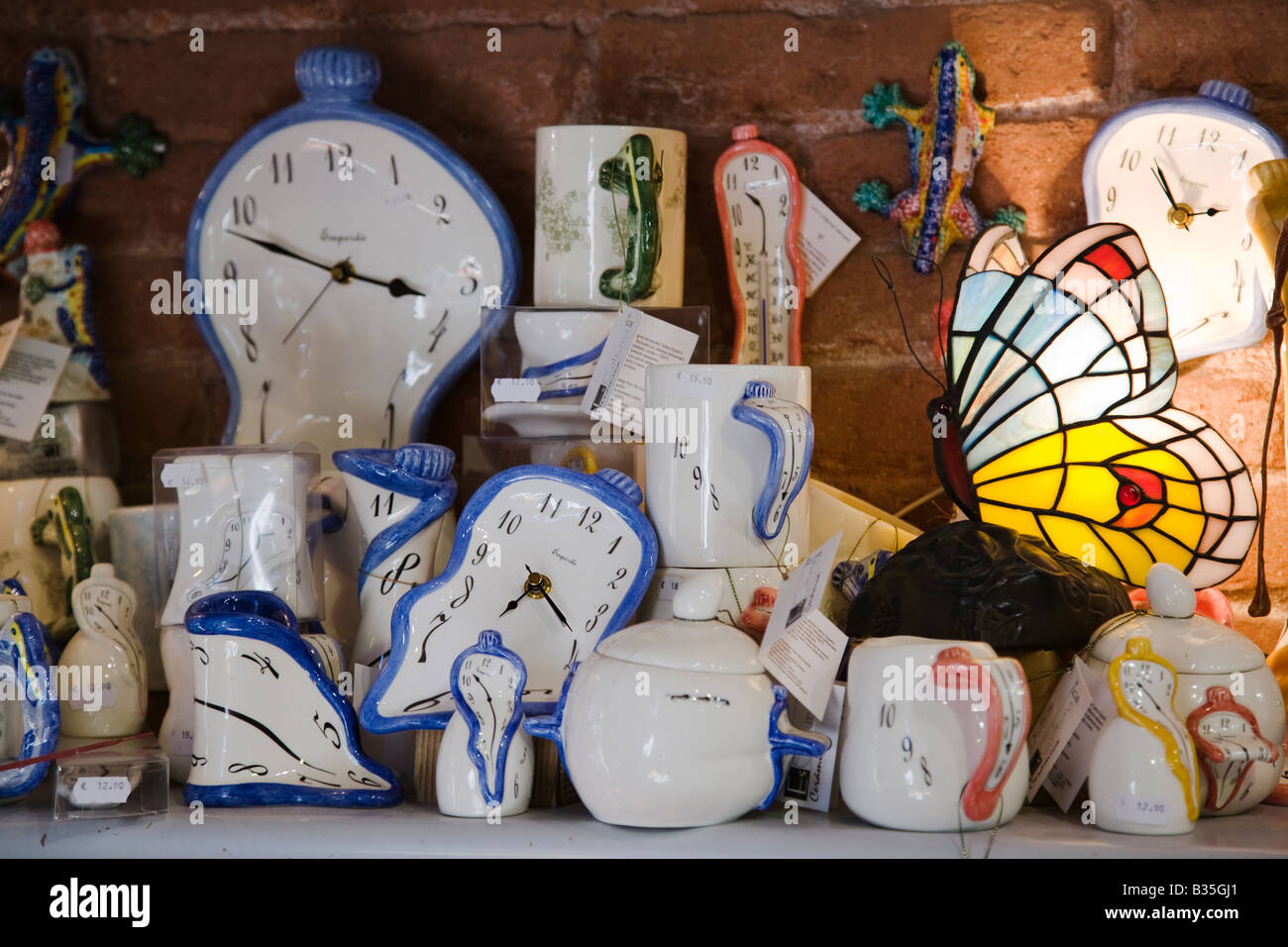 SPAIN Barcelona Gift shop items of Salvador Dali melting clock ...