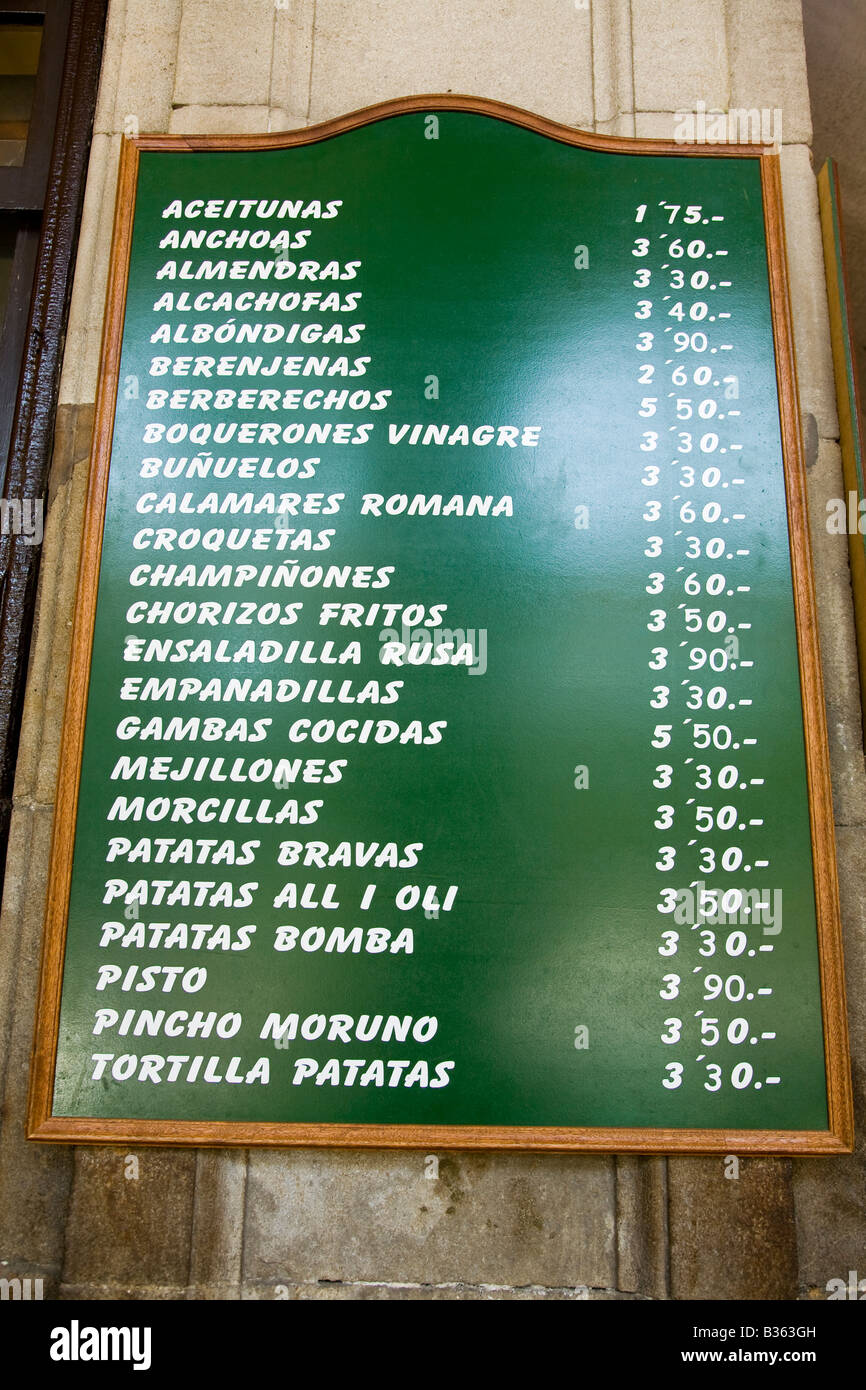 Spain Barcelona Posted Menu With Prices In Euros For Tapas