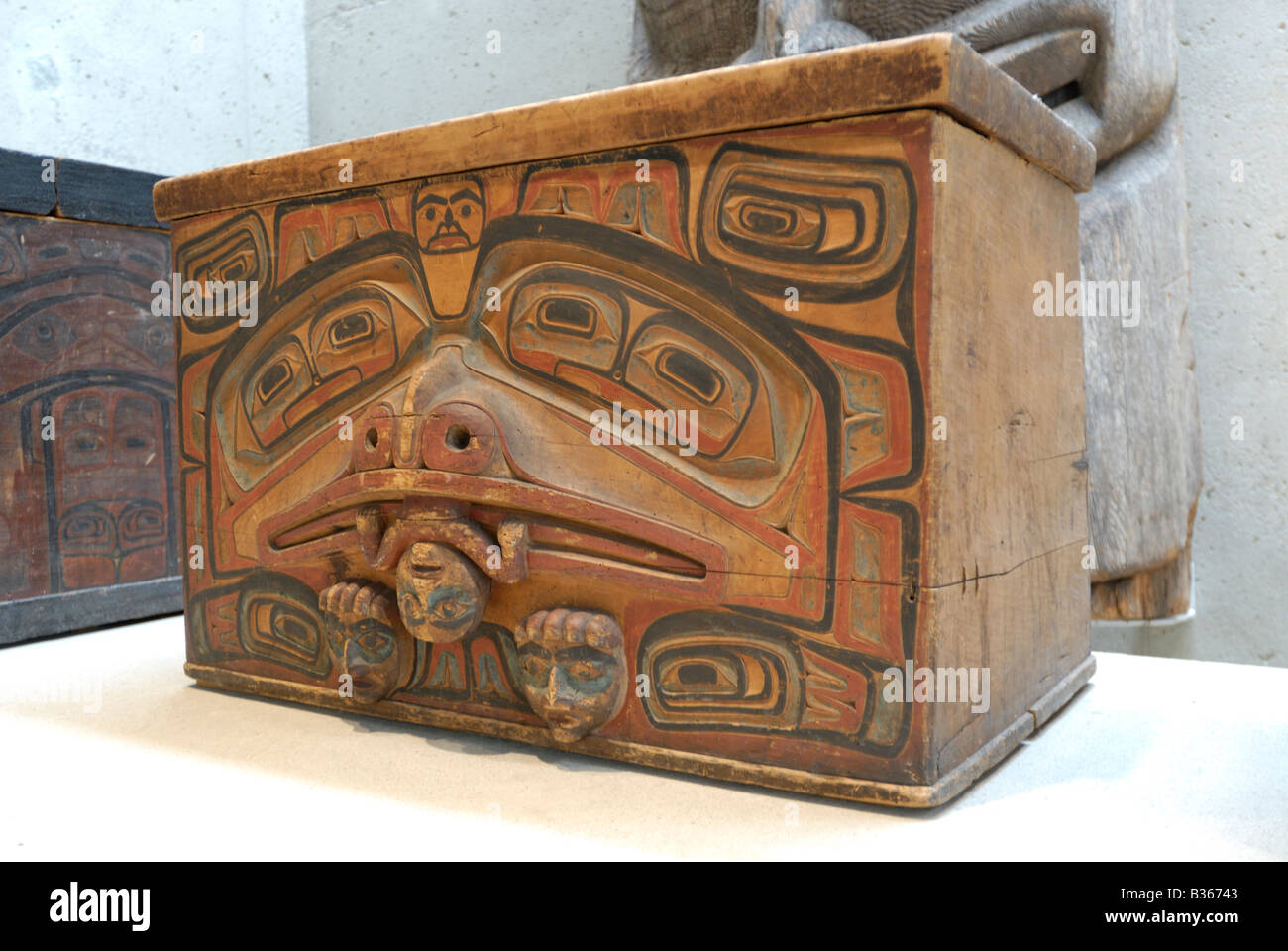 Canadian Native Artifacts Haida Storage Box Often Referred To As A Stock Photo Royalty Free