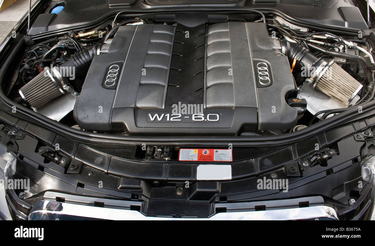 detail of a motor of an audi W12 6.0 at Zagreb Auto Show ...