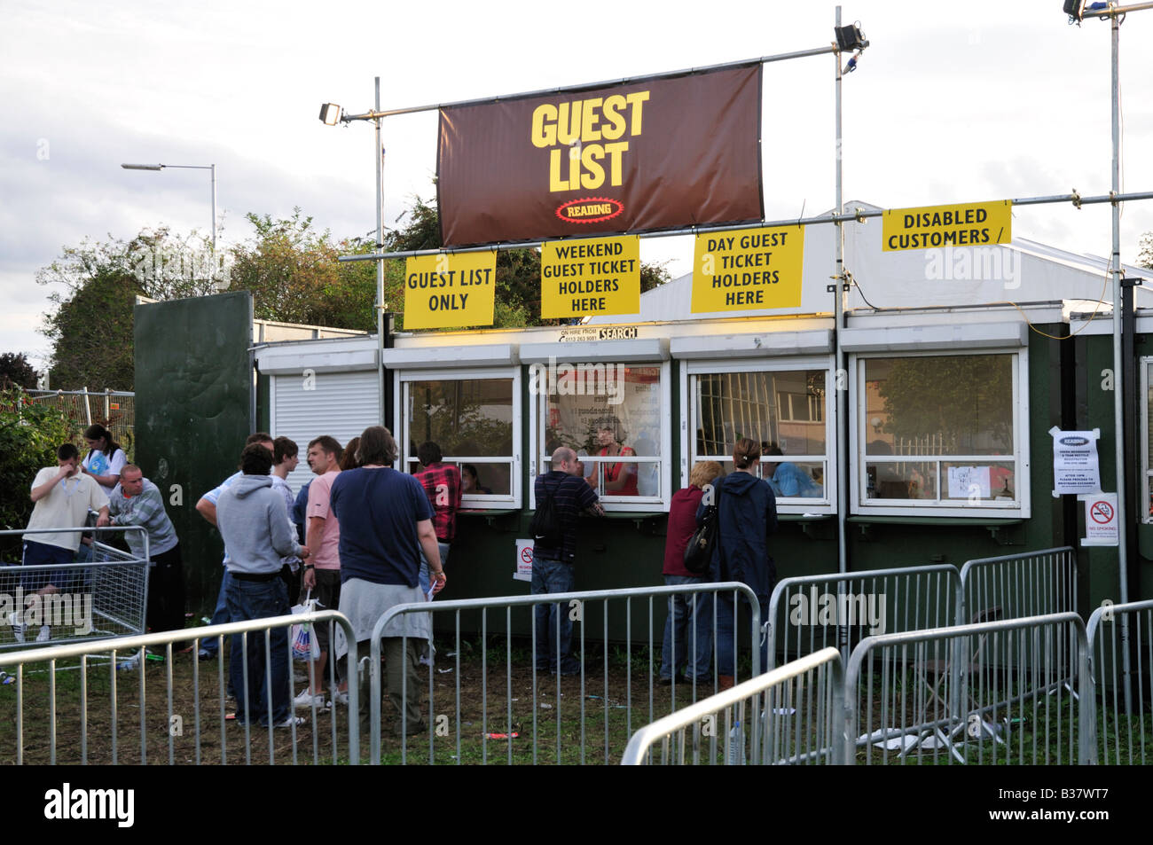 Box office for guest list passes at the Reading Festival ...