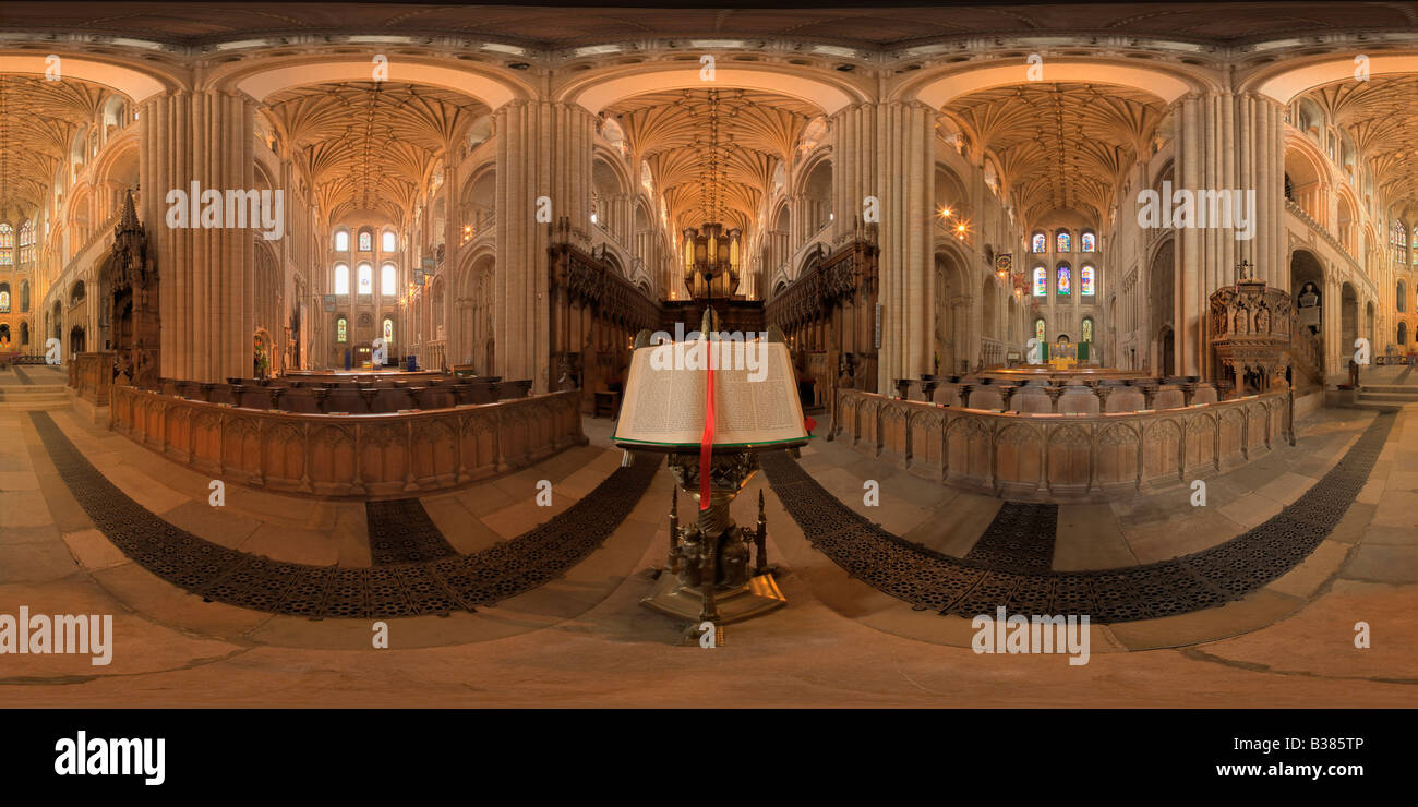 360 Degree Equirectangular Image Of Interior Norwich Cathedral In Norfolk England UK