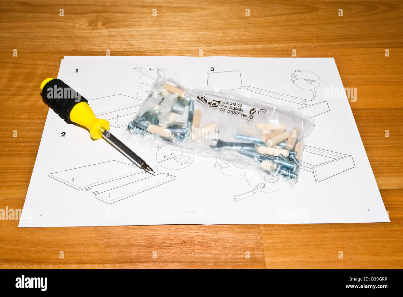 Flatpack Furniture Instructions With A Pack Of Self Assembly Tools And  Components And A Screwdriver