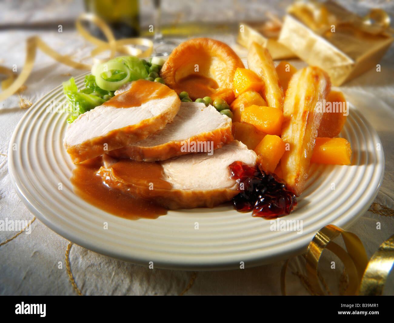 Traditional roast turkey Christmas dinner Stock Photo ...