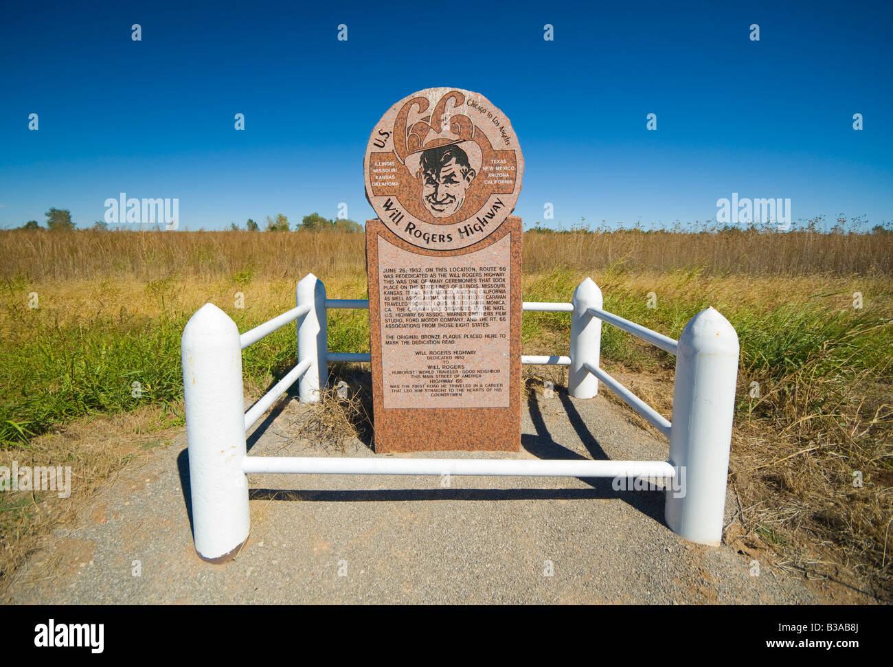 USA Oklahoma Route Texola Will Rogers Highway Marker Stock - Oklahoma location in usa