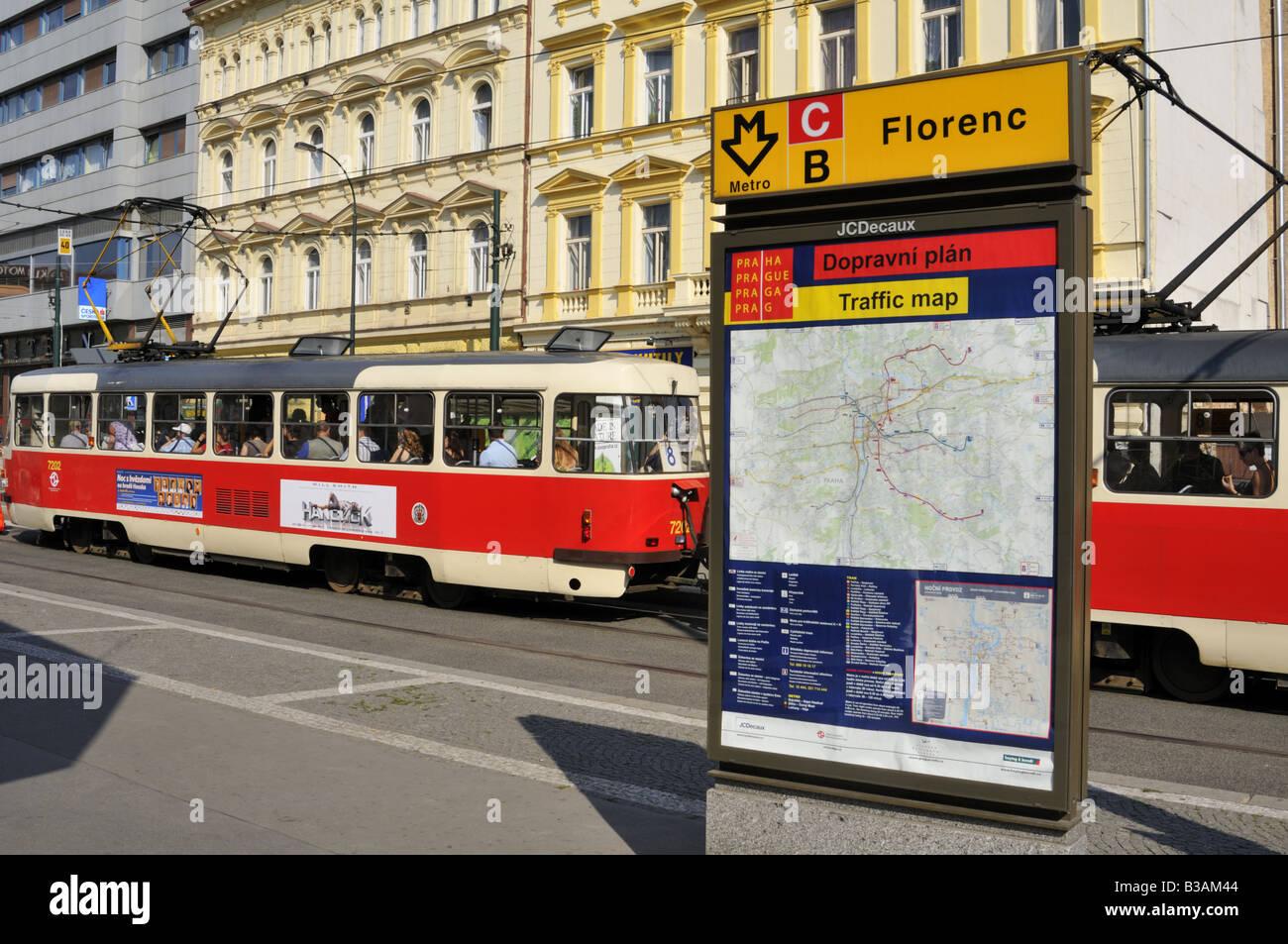 Number 8 Tram At The Florenc Metro Stop On Sokolovska Street In The Prague  Karlin District