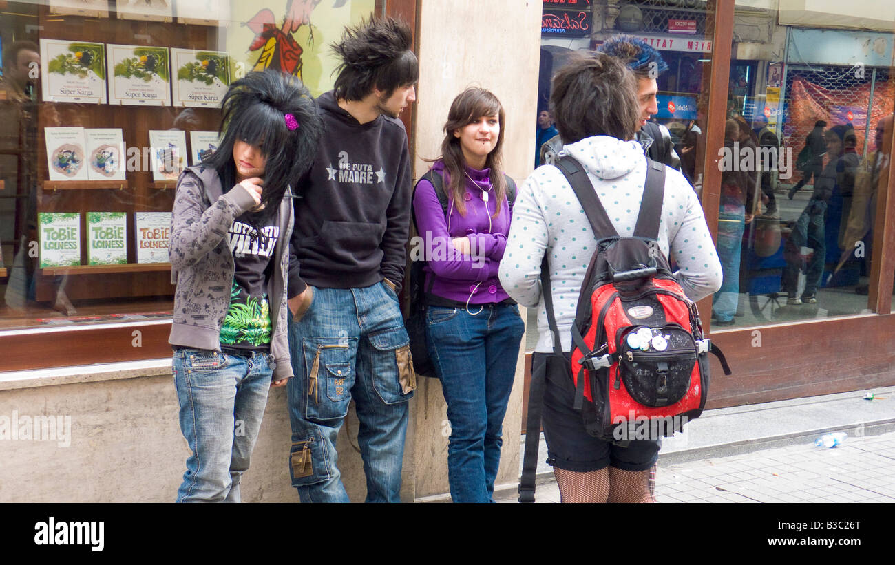 Teenagers In Emo Punk Fashion Istiklal Avenue Beyoglu