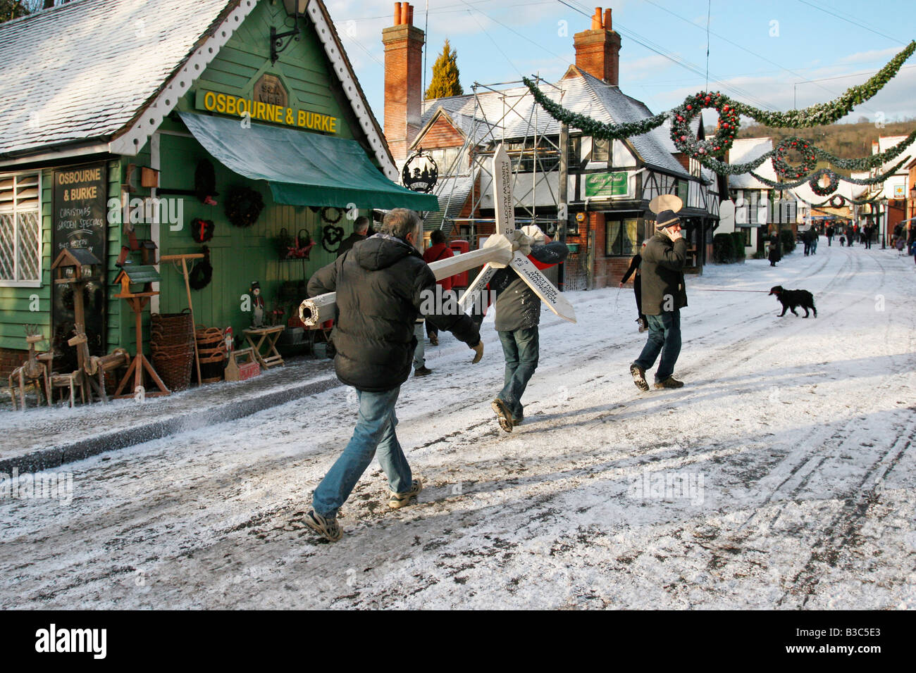 """Creating a winter location set for """"The Holiday"""" film, in the village Stock Photo, Royalty Free ..."""