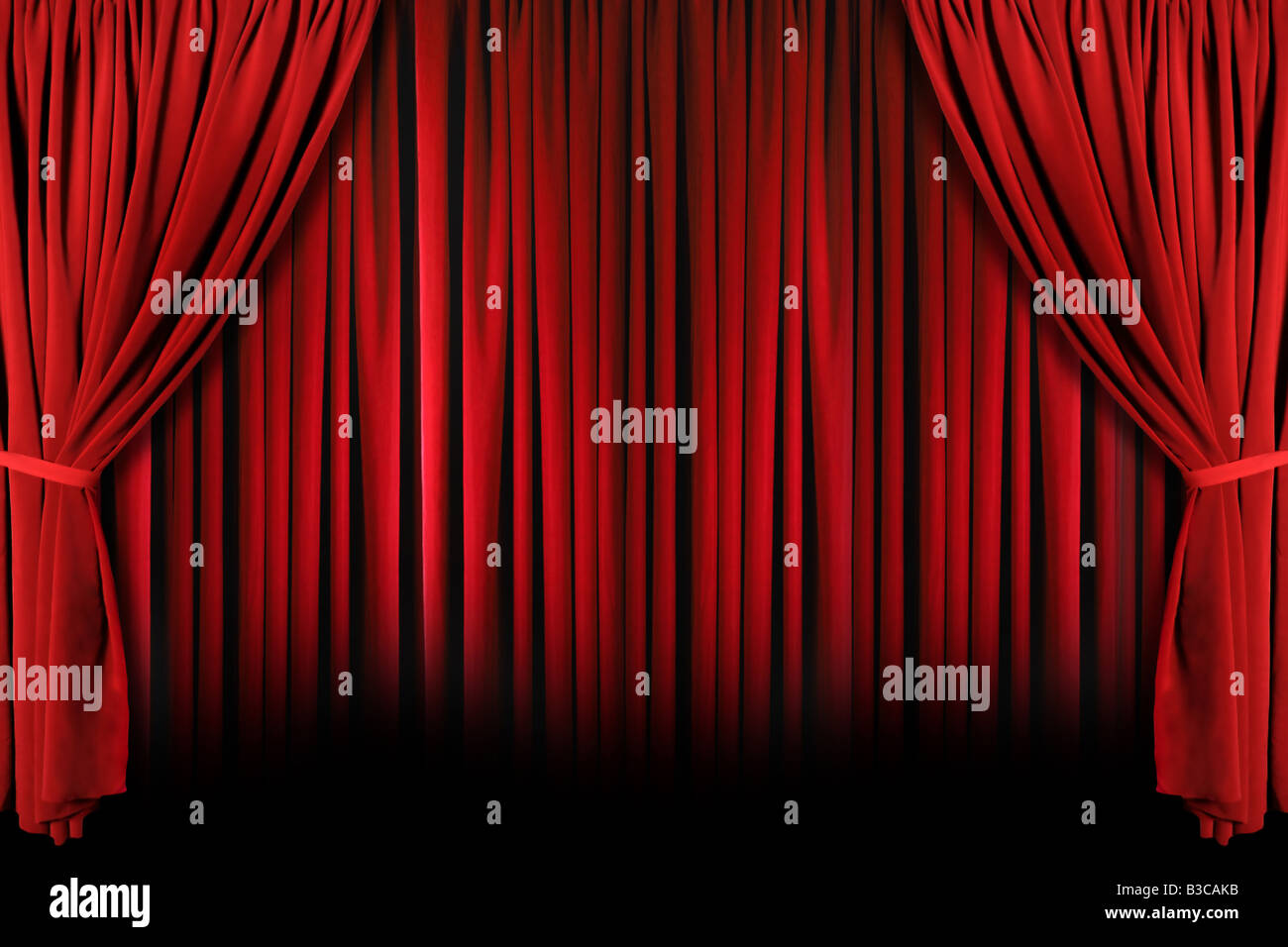 Red stage curtain with lights - Red Draped Theater Stage Curtains With Light And Shadows