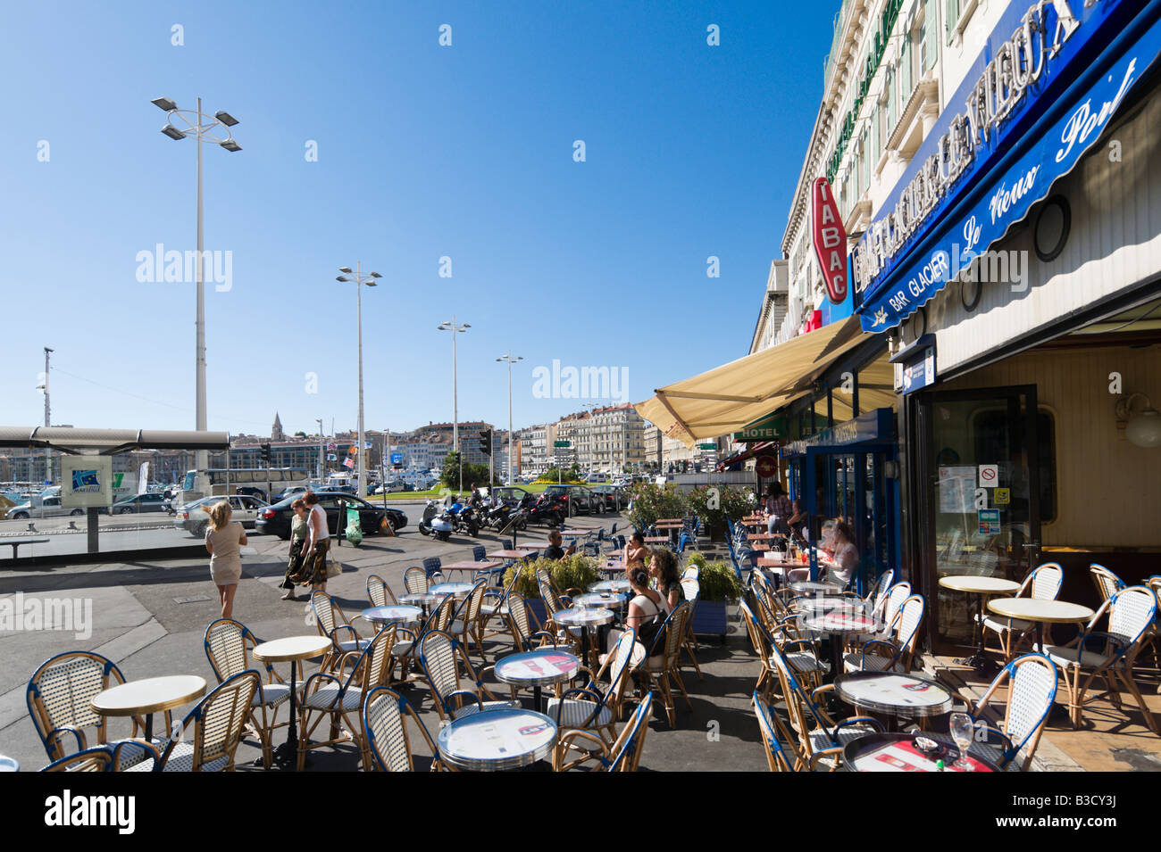 Harbourfront cafe bar on the quai des belges vieux port district stock photo royalty free - Restaurant le vieux port marseille ...