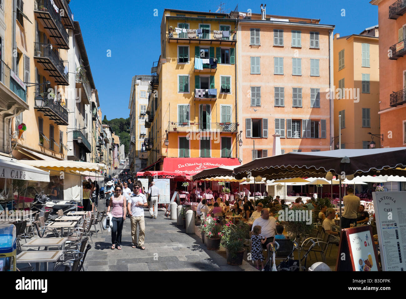 cafes and bars in place rossetti in the old town vieux nice nice stock photo royalty free. Black Bedroom Furniture Sets. Home Design Ideas