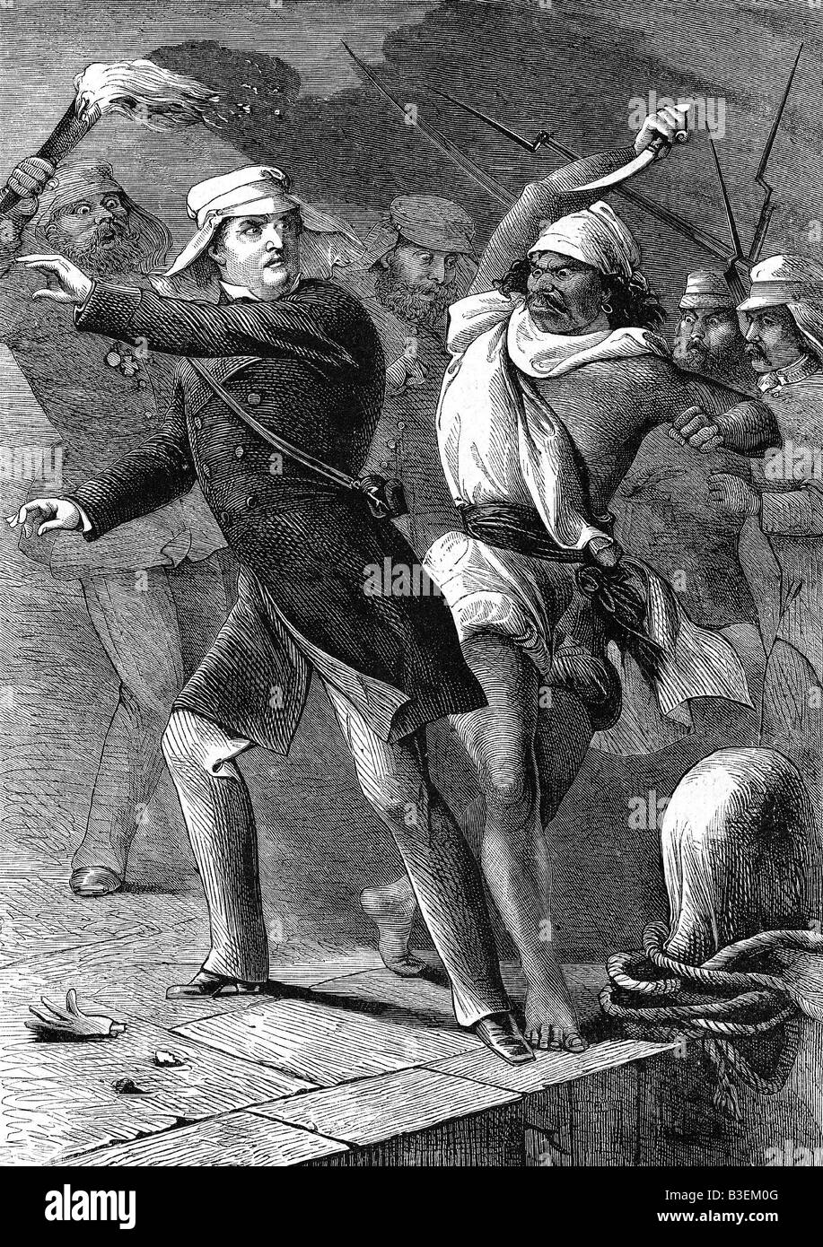 Whalers in action wood engraving published in 1855 stock illustration - Geography Travel India Indian Mutiny 1857 1858 Killing Of General Sir