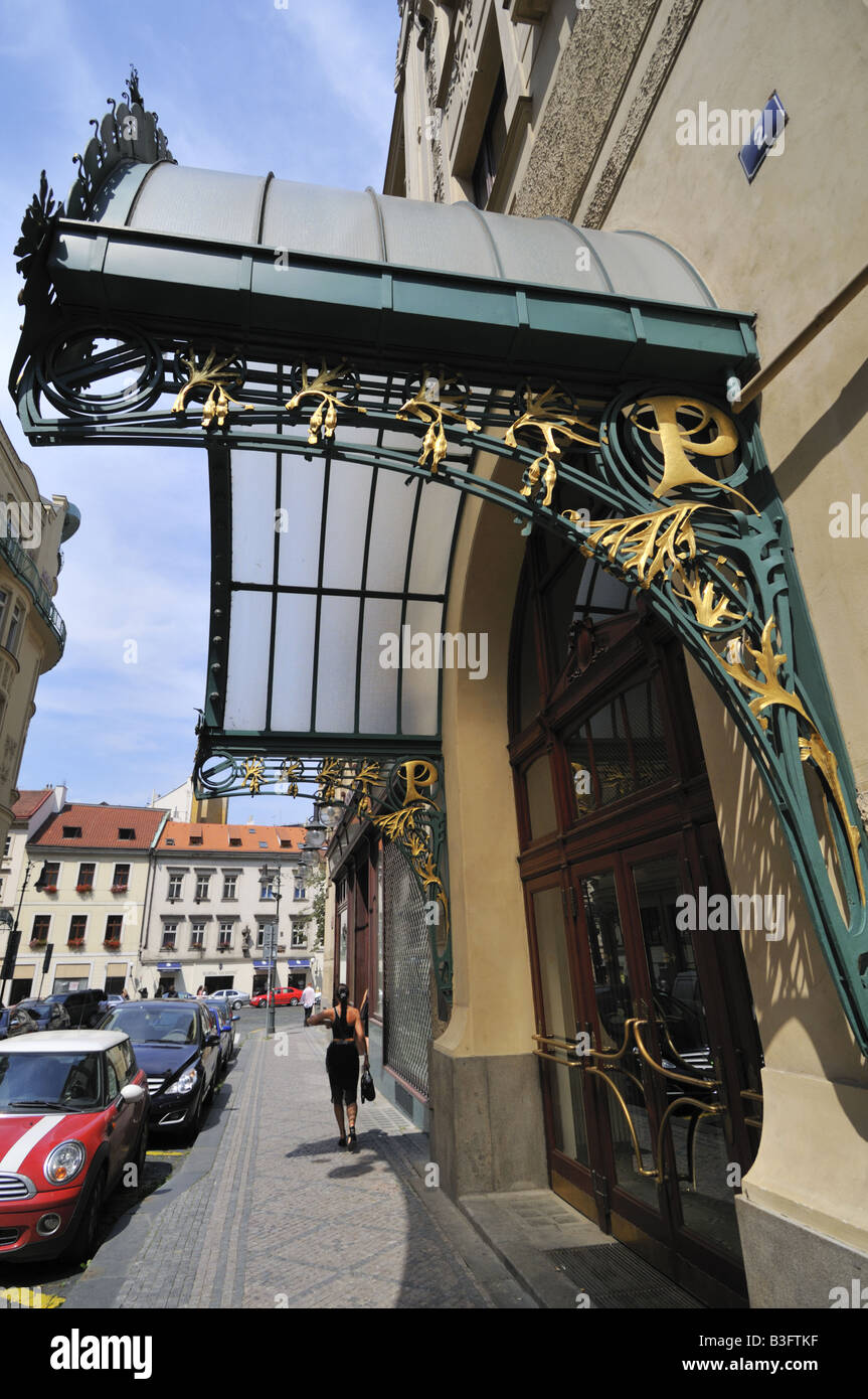 Art Nouveau ornamental canopy over the side entrance to the Prague Kavarna Obecni Dum the Municipal House & Art Nouveau ornamental canopy over the side entrance to the Prague ...