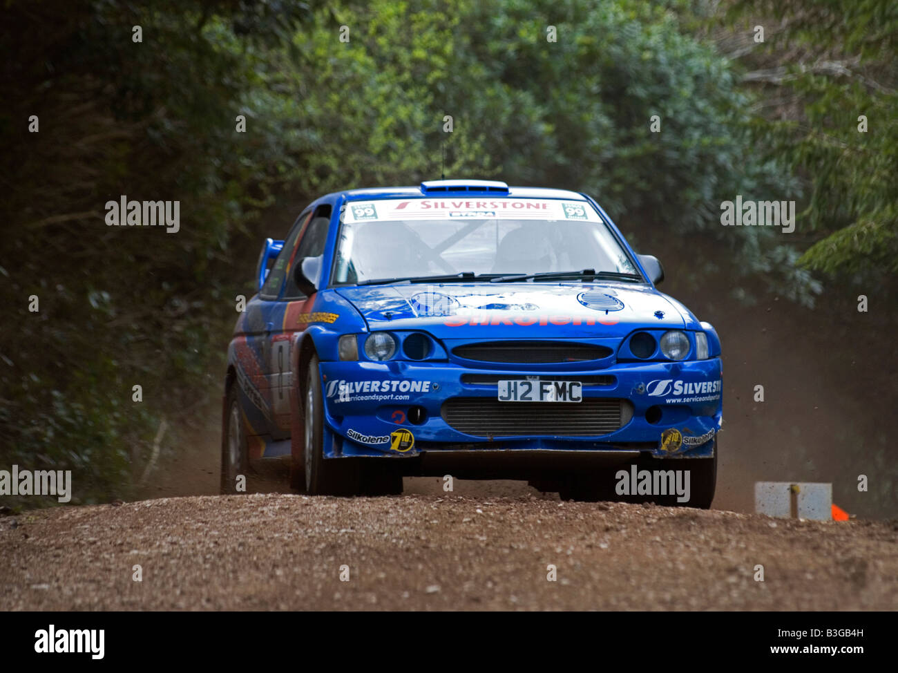 Ford Escort Cosworth rally car setting up for a corner Stock Photo ...