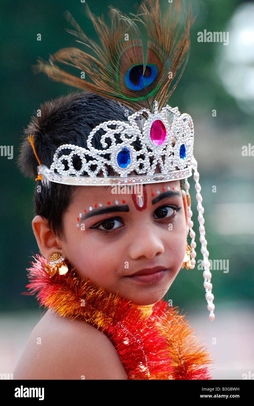 Photos Of Small Living Rooms Decorated: Little Krishna- A Small Boy Posing As Lord Krishna In A