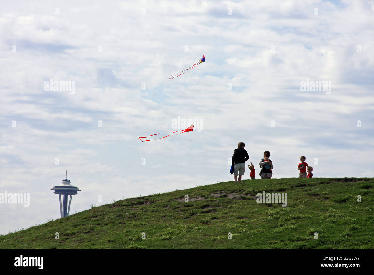 Flying Kites On A Hill At Gasworks Park In Seattle Washington - Flying to seattle washington
