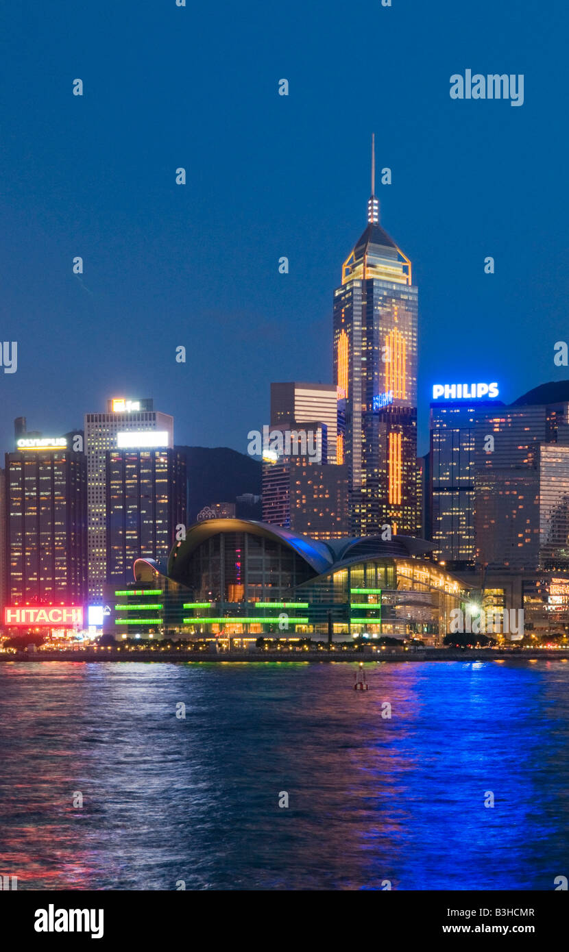 Awesome The Landmark Hong Kong Convention And Exhibition Centre In Wanchai Hong Kong  China Lights Up Victoria Harbour In The Evening