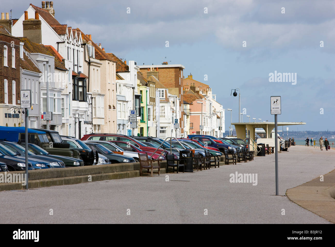Cars parked along the seafront in Deal Kent Stock Photo ...