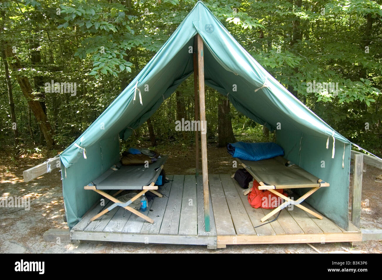 Canvas tent at Boy Scout summer c& & Canvas tent at Boy Scout summer camp Stock Photo: 19474398 - Alamy