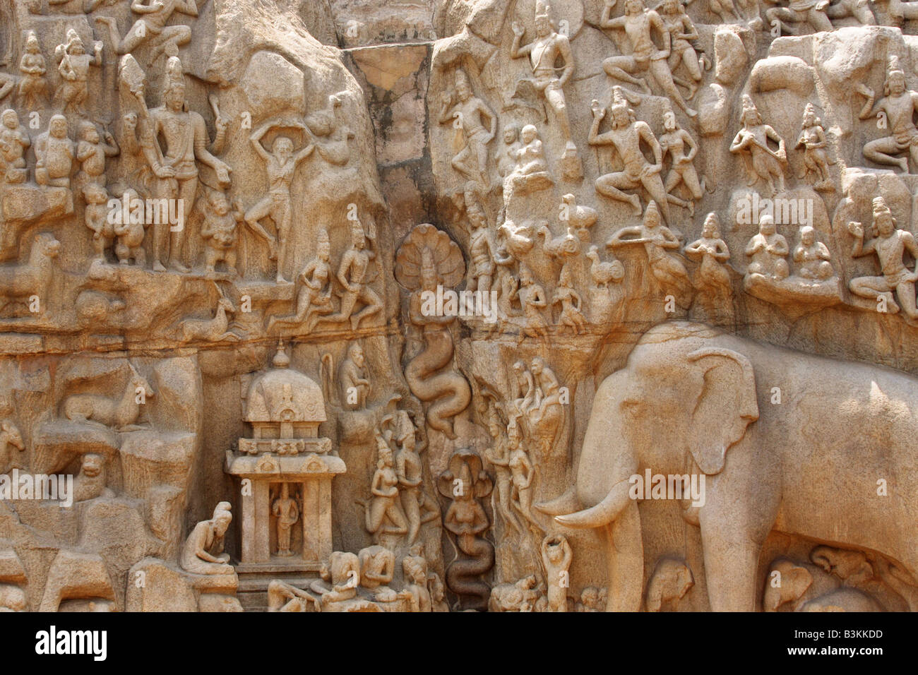 Elephant and people carved in stone wall hindu temple