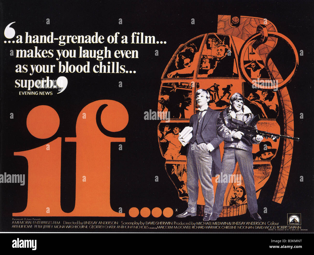 If poster for 1968 paramoiunt memorial film malcolm mcdowell stock image