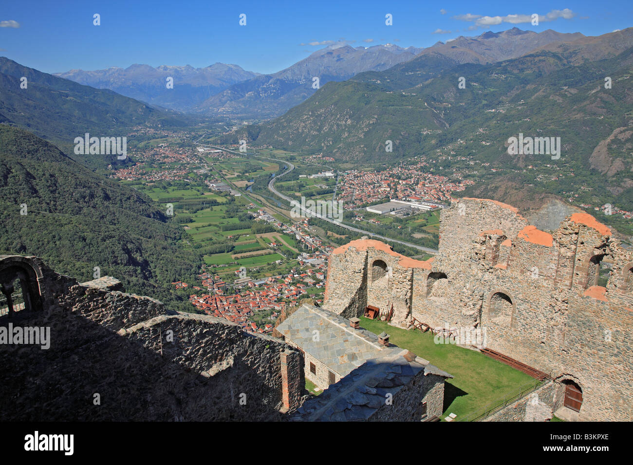 view from Sacra di San Michele to the Valle die Susa Piedmont ...
