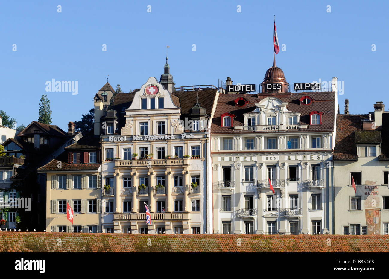 Luxury Hotels With Traditional Swiss Architecture In Lucerne Switzerland
