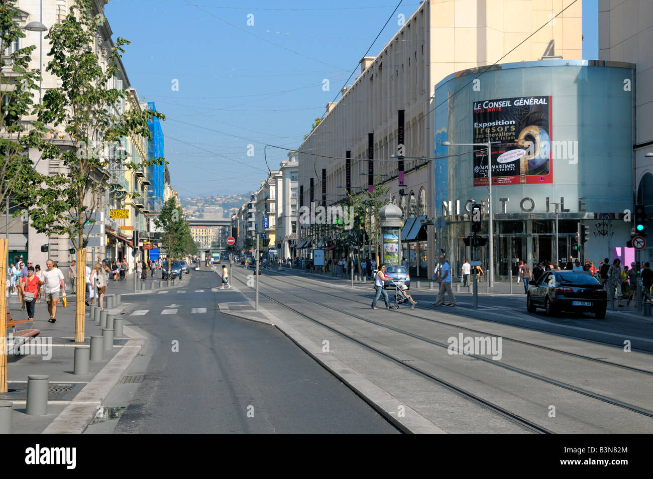 avenue jean medecin the main street of nice on the cote d azur stock photo royalty free image. Black Bedroom Furniture Sets. Home Design Ideas