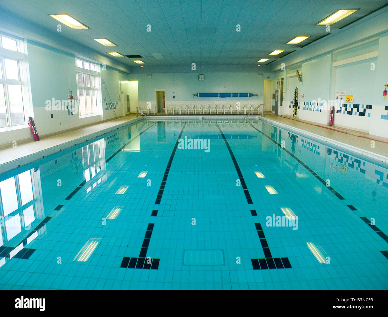 A public swimming pool at a local council run leisure centre stock photo royalty free image for Community swimming pools near me