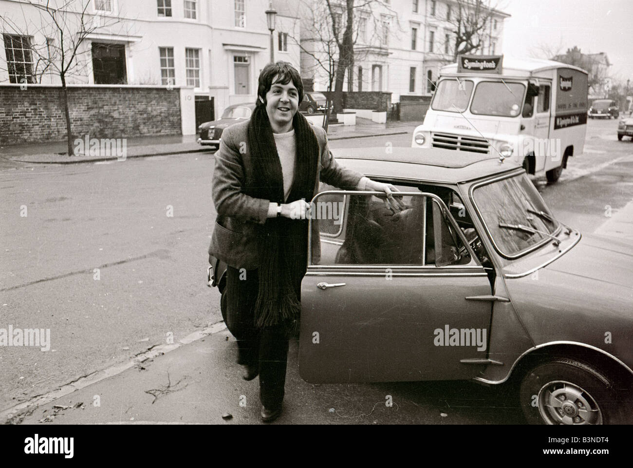 Paul Mccartney Of The Beatles With His Mini Car 27th